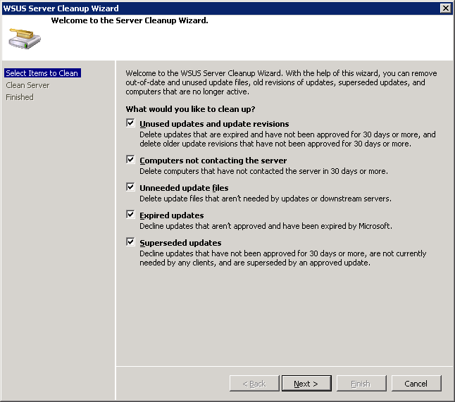 how to clean up wsus database